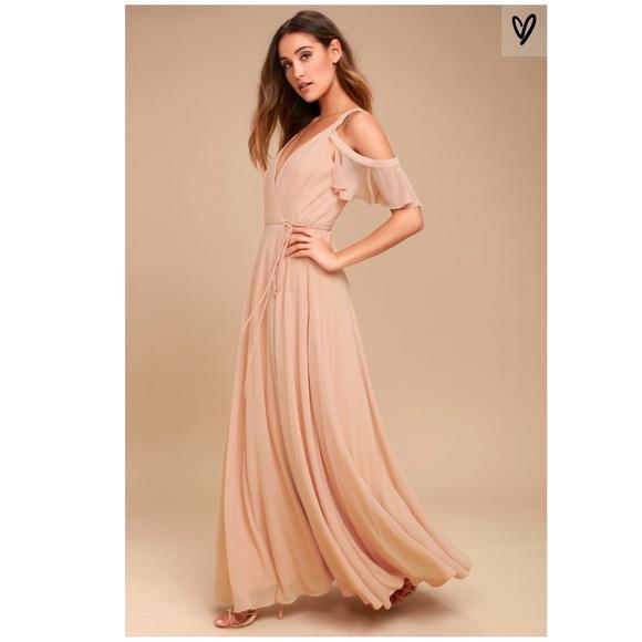 3737475a6e5b0 Lulu s Dresses   Skirts - Blush Off the Shoulder Wrap Maxi Dress